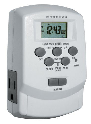 Woods 50009WD Digital 7-Day Lamp/Appliance Timer with 2 Outlets, Up to 8 On/Off Settings per day and Battery Back Up