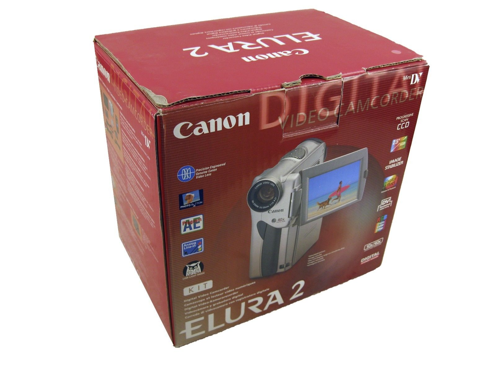 Canon Elura2 Mini DV Camcorder 10x Optical Color Viewfinder 40x Digital Kit