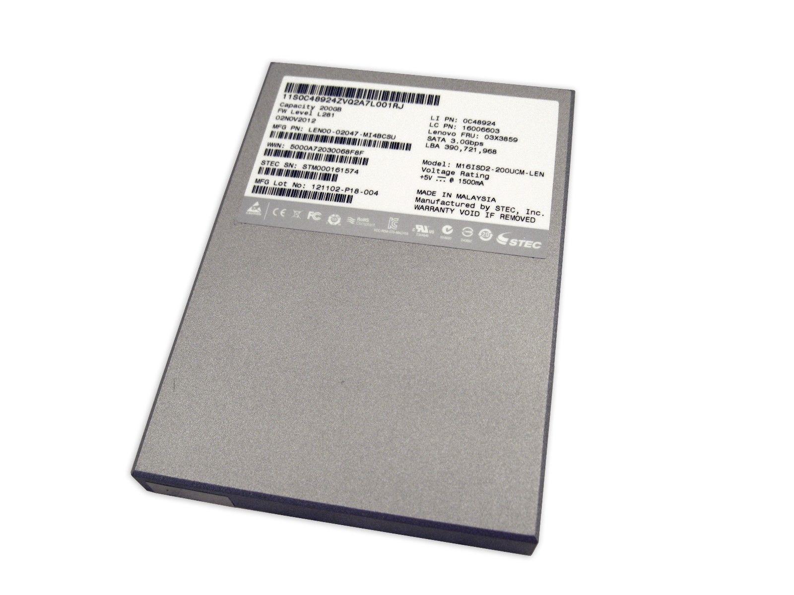 """IBM M16ISD2-200UCM Lenovo 200GB SSD SATA 2.5"""" Stec Mach16 02047-MI4RBCTU"""