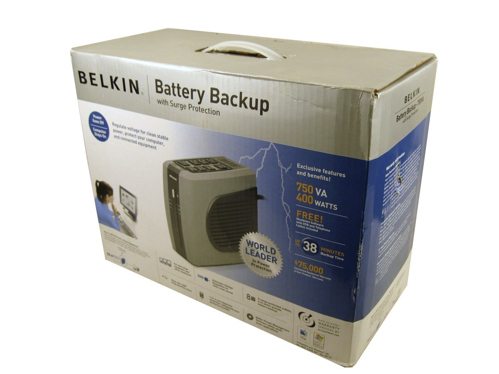 Belkin F6C750-AVR 750VA UPS Battery Backup With Surge Protection