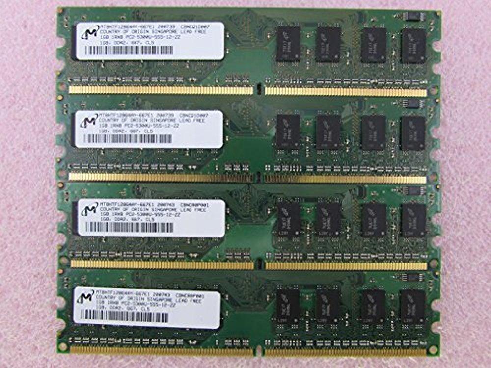 Micron MT8HTF12864AY 1GB PC2-5300U DDR2 667MHz 1Rx8 Memory LOT OF 4