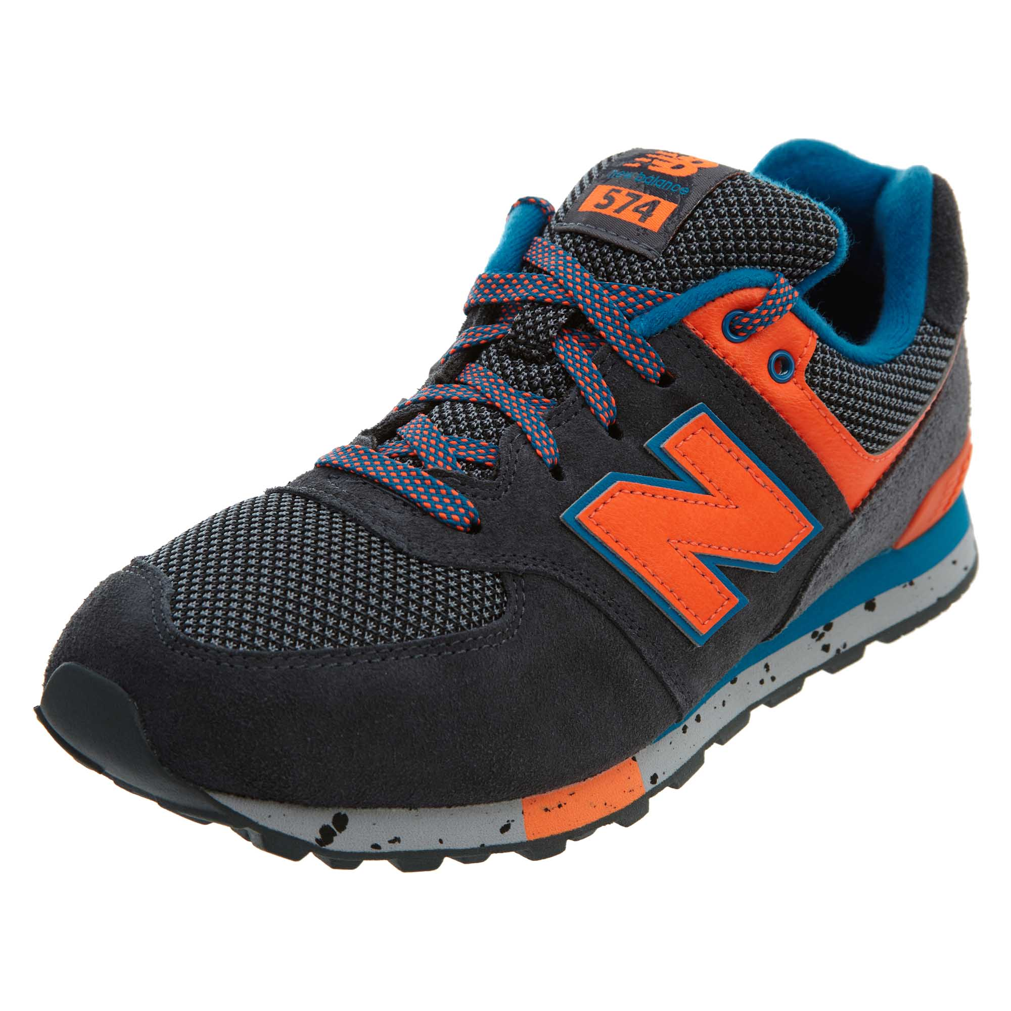 info for 78521 2616f Details about New Balance Big Kids 574 Classic Running Shoes Dark Grey  Orange Blue KL574-9OG